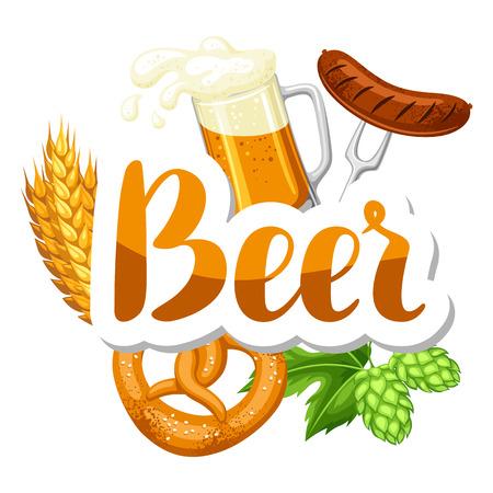ale: Oktoberfest beer festival. Illustration or poster for feast