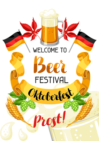 feast: Oktoberfest. Welcome to beer festival. Invitation flyer or poster for feast