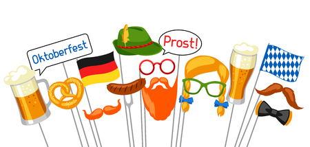 hair mask: Set of Oktoberfest photo booth props. Accessories for festival and party Illustration