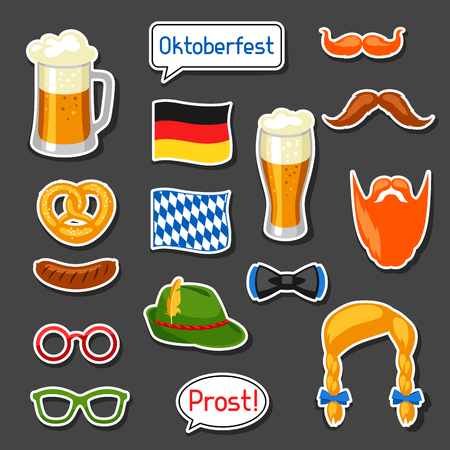 hair mask: Set of Oktoberfest photo booth stickers. Accessories for festival and party