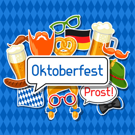 feast: Oktoberfest card with photo booth stickers. Design for festival and party
