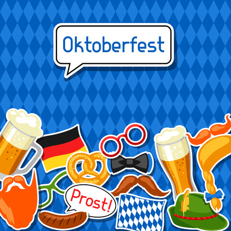 hair mask: Oktoberfest card with photo booth stickers. Design for festival and party