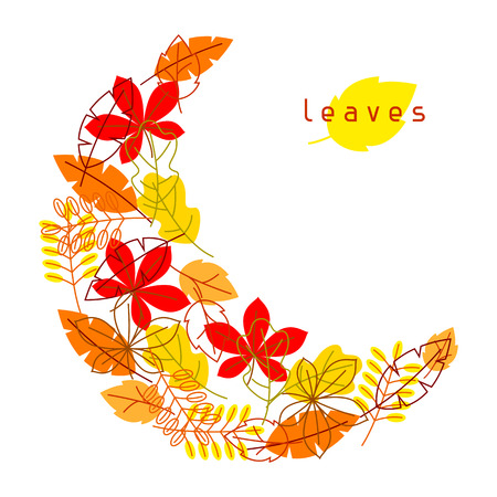 fall leaves: Card with stylized autumn foliage. Falling leaves in simple style Illustration