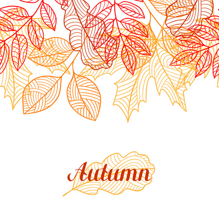 fall leaves: Seamless floral border with stylized autumn foliage. Falling leaves Illustration