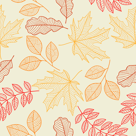 fall leaves: Seamless floral pattern with stylized autumn foliage. Falling leaves Illustration