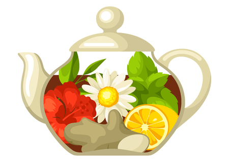 Illustration of glass teapot with different tastes and ingredients.