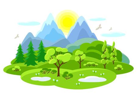 나무, 산, 언덕 봄 풍경입니다. 계절 일러스트레이션