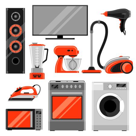 가전 제품의 집합입니다. 판매 및 쇼핑 광고 디자인을위한 가정 용품