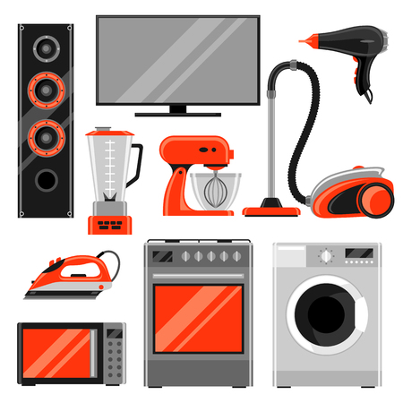 Set of home appliances. Household items for sale and shopping advertising design
