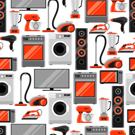 Seamless pattern with home appliances. Household items for sale and shopping advertising background 向量圖像
