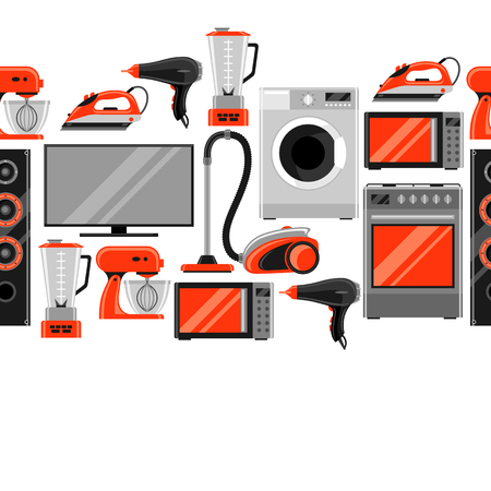 Seamless pattern with home appliances. Household items for sale and shopping advertising background Illustration