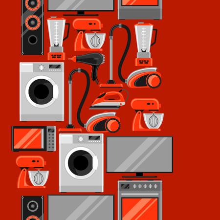 Patrón sin fisuras con electrodomésticos. Artículos para el hogar en venta y fondo publicitario de compras