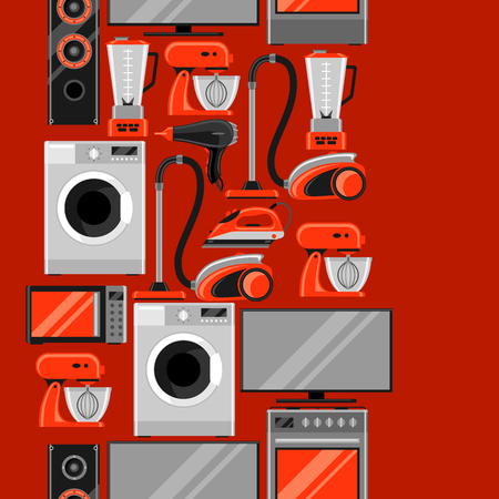 Seamless pattern with home appliances. Household items for sale and shopping advertising background Vectores