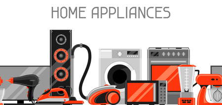 Banner with home appliances. Household items for sale and shopping advertising poster Illustration