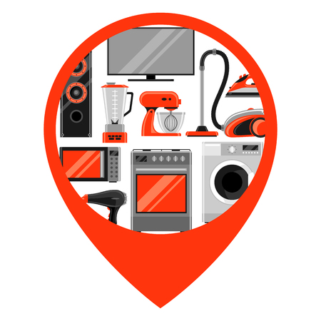 Location marker with home appliances. Illustration