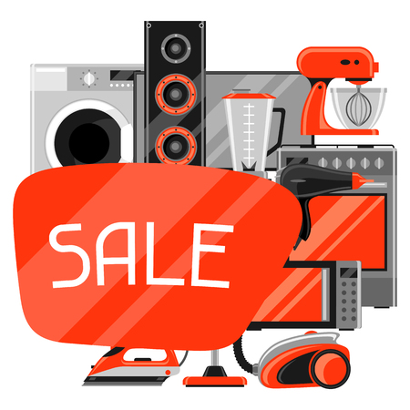 Sale with home appliances.