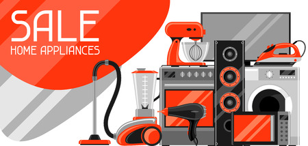 Sale banner with home appliances.
