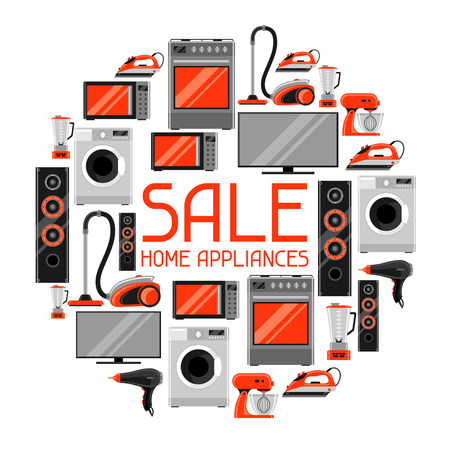 Sale background with home appliances. Household items for shopping and advertising flyer.