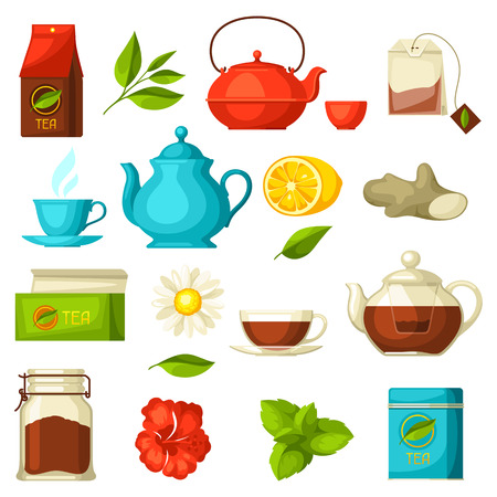 Set of tea and accessories, packs and kettles Illustration