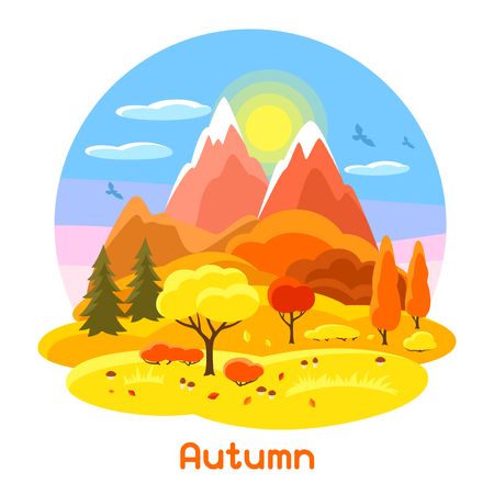 Autumn landscape with trees, mountains and hills. Seasonal illustration. Illustration