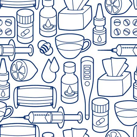 flu virus: Medicines and medical objects set. Illustration