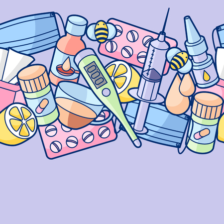 Medicines and medical objects set. Illustration
