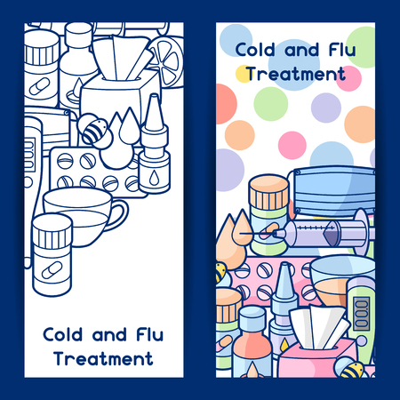 influenza: Banner with medicines and medical objects. Illustration