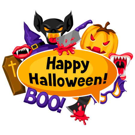 Happy Halloween background with cartoon holiday symbols. Invitation to party or greeting card. Ilustracja