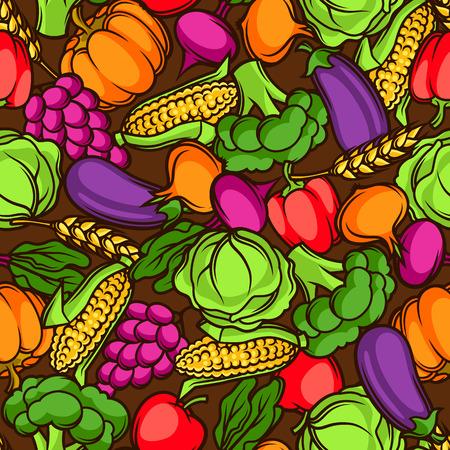 수확 원활한 패턴입니다. 계절 과일과 채소가 그림 스톡 콘텐츠 - 85113418