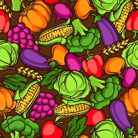 Harvest seamless pattern. Autumn illustration with seasonal fruits and vegetables