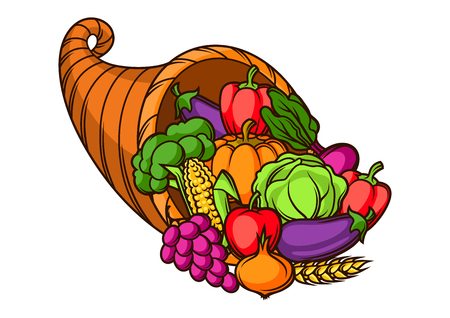 Harvest illustration .Autumn cornucopia with seasonal fruits and vegetables