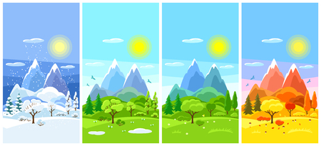 Four seasons landscape. Banners with trees, mountains and hills in winter, spring, summer, autumn.