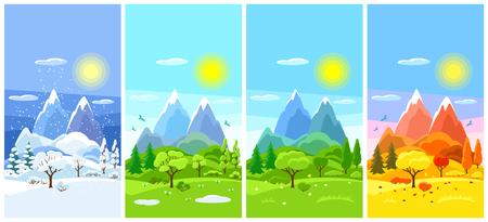 Paisaje de cuatro estaciones. Banners con árboles, montañas y colinas en invierno, primavera, verano, otoño.