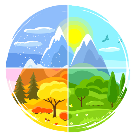 Four seasons landscape. Illustrations with trees, mountains and hills in winter, spring, summer, autumn. Ilustração