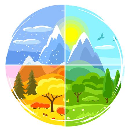 Vier Jahreszeiten Landschaft. Illustrationen mit Bäumen, Bergen und Hügeln im Winter, Frühling, Sommer, Herbst. Vektorgrafik