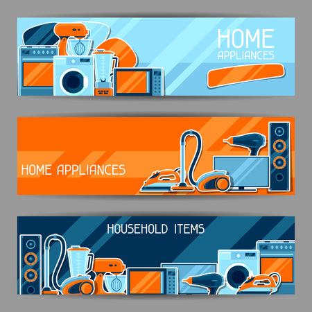 Banners with home appliances. Household items for sale and shopping advertising poster