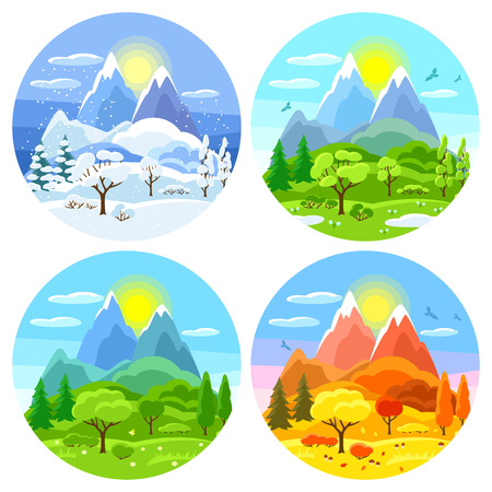 Four seasons landscape. Illustrations with trees, mountains and hills in winter, spring, summer, autumn. Çizim