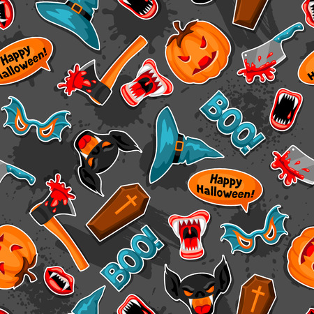 Happy Halloween seamless pattern with cartoon holiday sticker symbols