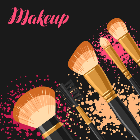 Set of brushes for make up. Background for catalog or advertising