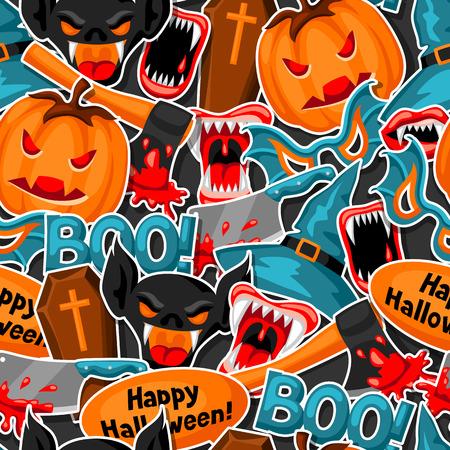 celebration party: Happy Halloween seamless pattern with cartoon holiday sticker symbols.