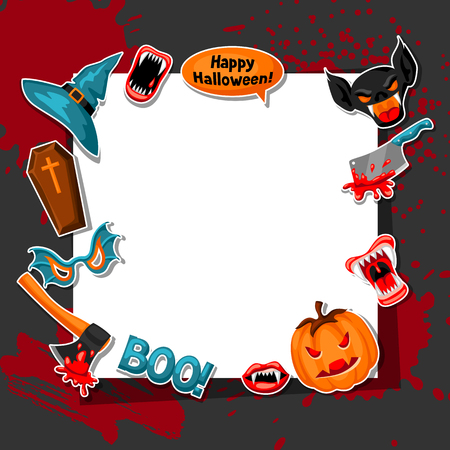 Happy Halloween frame with cartoon holiday sticker symbols. Invitation to party or greeting card Illustration