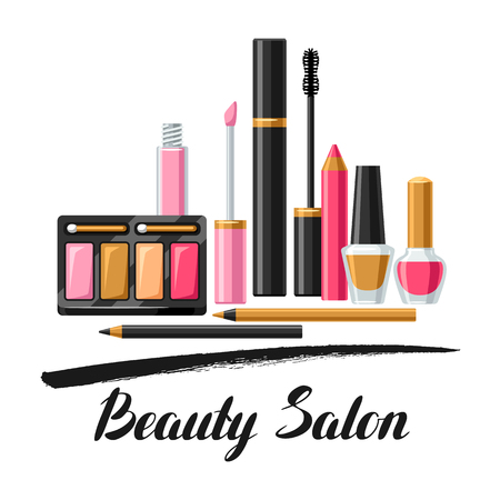 Cosmetics for skincare and makeup. Background for catalog or advertising Illustration