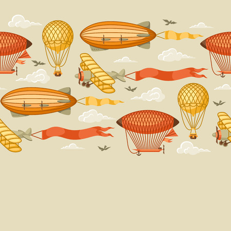 A Seamless pattern with retro air transport. Vintage aerostat airship, blimp and plain in cloudy sky