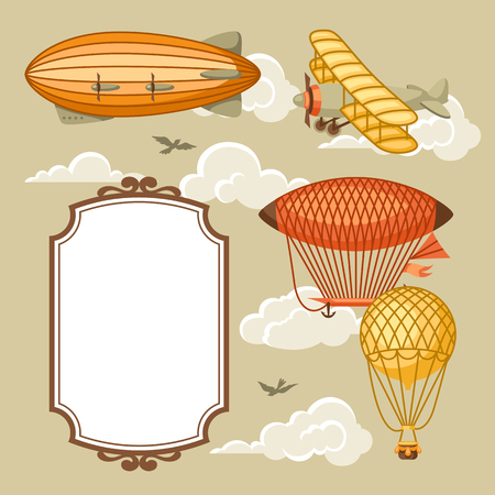dirigible: Travel background with retro air transport. Vintage aerostat airship, blimp and plain in cloudy sky