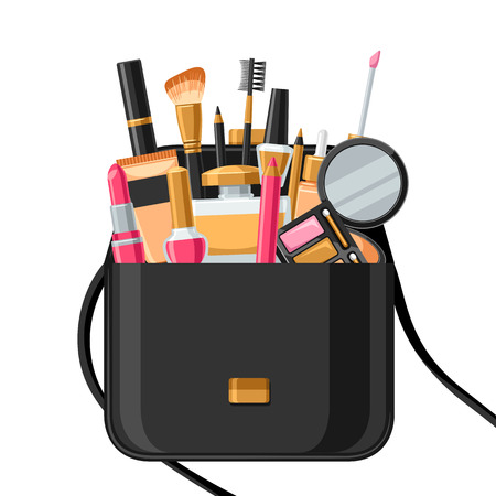 Cosmetics for skincare and makeup bag. Illustration