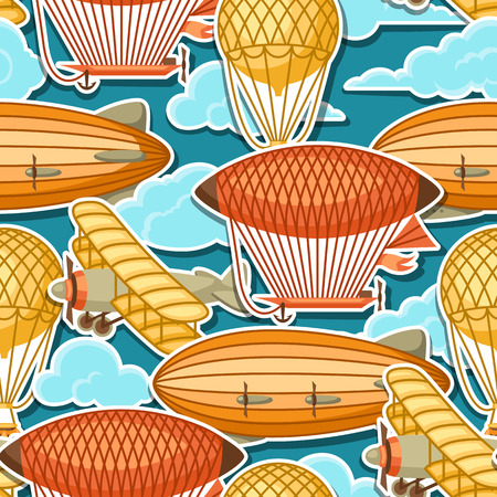 Seamless pattern with retro air transport. Vintage aerostat airship, blimp and plain in cloudy sky Illustration