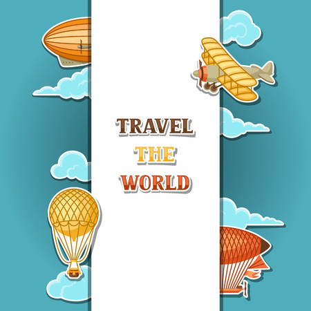 Travel background with retro air transport. Vintage aerostat airship, blimp and plain in cloudy sky