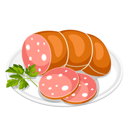 Boiled sausage slices with parsley leaf on white plate