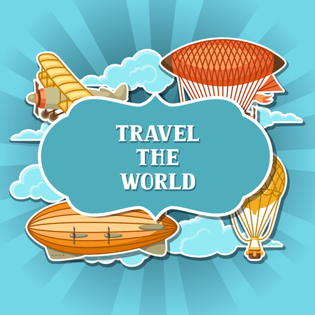 Travel background with retro air transport. Vintage aerostat airship, blimp and plain in cloudy sky. Illustration