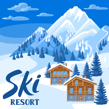 Alpine chalet houses. Winter ski resort illustration. Beautiful landscape with snowy mountains and fir forest